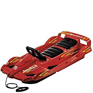 Санки с рулем AlpenGaudi Double Race BOB красный для двоих детей