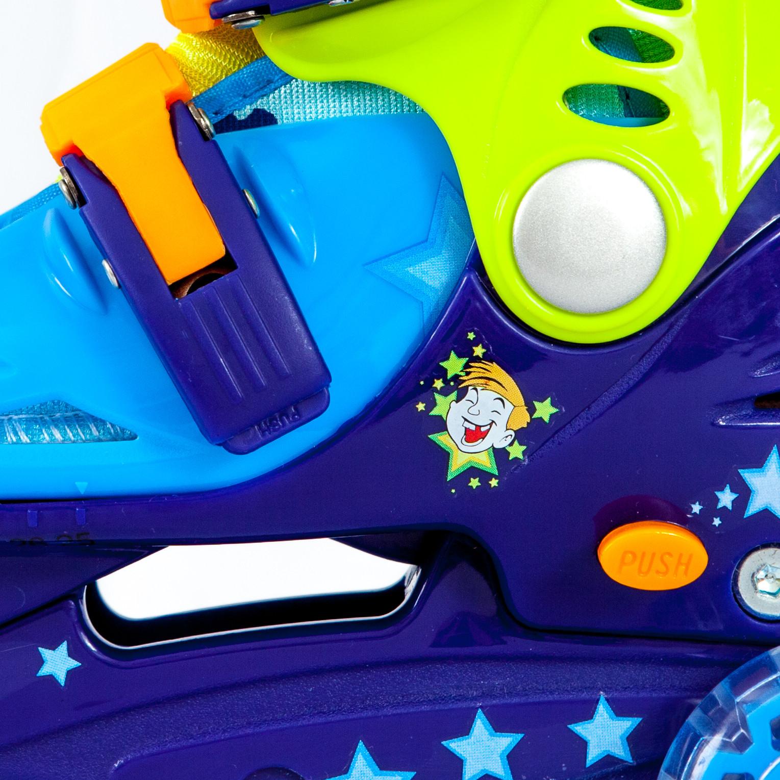 Ролики детские 26 размер, для обучения (трехколесные, раздвижной ботинок) MagicWheels зеленые, - фото 3